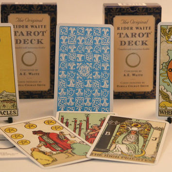 The Original Rider Waite Tarot Deck Cards and guide book-  includes free satin lined velvet pouch