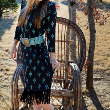 Boot Scootin Kickin Cactus Dress by Crazy Train
