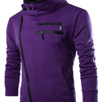 Double Stand Collar Multi-Zipper Inclined Front Fly Slimming Long Sleeves Cool Sweatshirt For Men