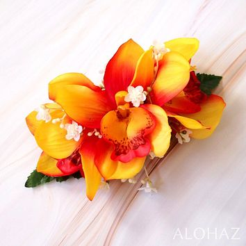 Orange Cymbidium Dream Hawaiian Flower Hair Clip