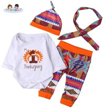 Thanksgiving Baby Boys Girls My 1st Thanksgiving Outfit Letters Print Romper Printing Pant with Hat Headband 4PCS Clothes Set