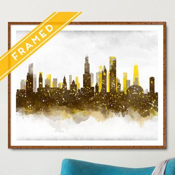 Chicago Poster Cityscape FRAMED Anniversary Gift - Skyline Watercolor - Art Print Poster - Ready to Hang Chicago Poster