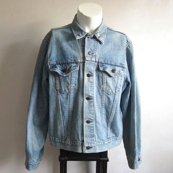Levi Strauss Vintage 1980s Blue Grunge Denim Jean Jacket Regular 46 Large Made in USA