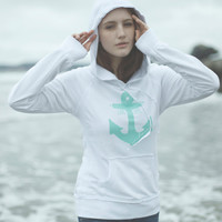 Live Life Anchored Raw Edge Hoodie White/Mint by PrintedPalette