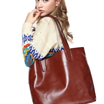 FunShop Women's Simple Style PU Tote Handbag D1117
