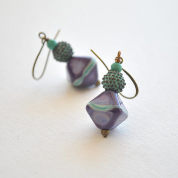 Purple Earrings, Lampwork Glass Earrings, Greek Mykonos Earrings, Blue Patina Earrings, Glass Bead Earrings