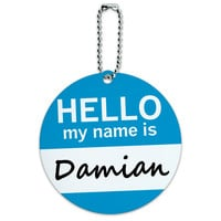 Damian Hello My Name Is Round ID Card Luggage Tag