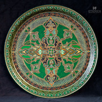 Green and gold hand painted serving tray, decorative plate, round metal tray, home decor, wall hanging, gift