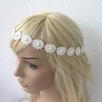 Bridal Headband, Country Bride, Lace Ivory Wedding Head Piece, bridal Hair accessory, Hippie headband flowergirl