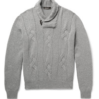 Loro Piana - Snowfall Shawl-Collar Cable-Knit Baby Cashmere Sweater | MR PORTER
