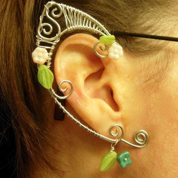 Pair of Silver Woven Wire Spring Elf Ear Cuffs with Czech Glass Flowers and Leaves Renaissance, Elven