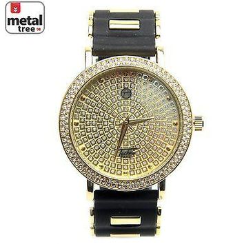 Jewelry Kay style Men's Fashion Bling 14K Gold Plated Silicone Band Techno Pave Watch 8086 GBK
