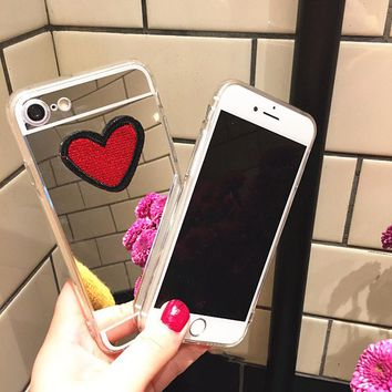 Cute DIY Stitches Love Heart Case For iphone 7 6 6S Plus Fundas Ultra Thin Clear Soft TPU Plating Mirror Phone Cases Coque Shell