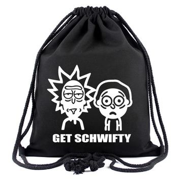 Anime Backpack School Novelty Cartoon Rick and Morty Backpack Animation Canvas Drawstring Bag Gift for Kids Boy Girl Travel Organizer Pouch Casual Bag AT_60_4