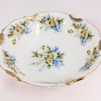 Trimont Yellow Flower Bowl | Made in Japan | Yellow Roses | Blue Flowers | Gold Accents
