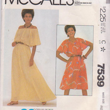 Vintage 1980s pattern for 90 minute peasant style summer dress in knee and floor length misses size medium 14 16 McCalls 7539 UNCUT