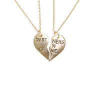 Blackheart Partners In Crime Heart BFF Necklace Set