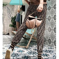 FENDI Classic Popular Women Leisure Double F Letter Breathable Knit Pants Trousers