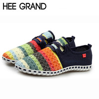 HEE GRAND Candy Stripe Lovers Men And Women's Flats Out-cuts Casual Breathable Summer Casual Shoes Fashion Shoes XMF263