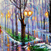"""Spring park - Palette knife oil painting on canvas by Dmitry Spiros. Size: 24""""x32"""", (60x80cm)"""