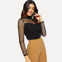 Black Dot Mesh Sweetheart Rib Knit Tee Stand Collar Long Sleeve Slim Fit T-shirt Women Elegant Party Tops