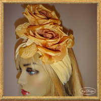 Handmade Soft Mustard Yellow Stretch Knit Headwrap Adorned with Two Gold Silk Roses makes for the Perfect Fall Boho Look