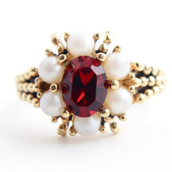 Vintage Faux Pearl & Red Rhinestone Ring -  Adjustable 1970s Gold Tone Flower Avon Costume Jewelry / Roseglow
