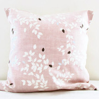 Pink pillow cover , light pink cushion cover with leaf pattern brown silver detail , country cottage style throw pillow handmade in the UK