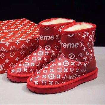 Louis Vuitton Lv X Supreme X Ugg Customise Red White Print Wool Mid Boost - Beauty Ticks