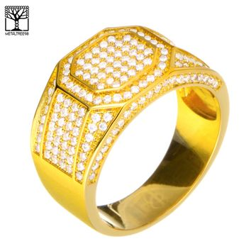 Jewelry Kay style Men's Iced Out 14k Gold Plated CZ Hand Set Band Double Octagon RX Pinky Ring