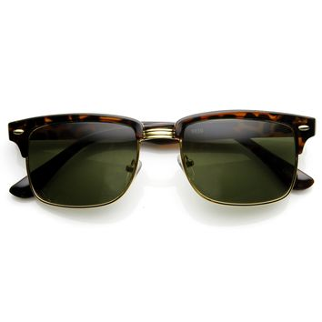 Classic Dapper Square Half Frame Horned Rim Sunglasses 9181