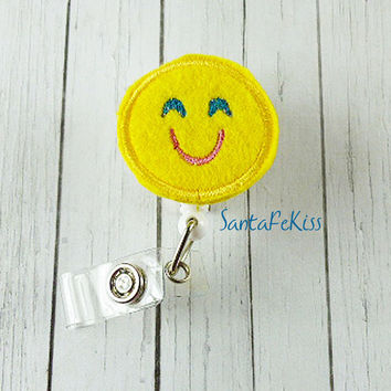 Smiling Emoji ID Badge - Embroidered Felt Badge Reel - Retractable ID Badge Holder - Badge Reel Clip - Medical Badge
