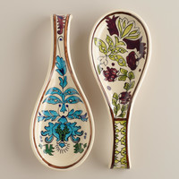Hand Painted Ceramic Spoon Rests, Set of 2