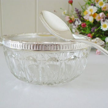 Vintage 1980's  Italian glass bowl and spoon