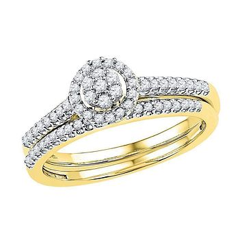 10kt Yellow Gold Women's Round Diamond Cluster Bridal Wedding Engagement Ring Band Set 1/3 Cttw - FREE Shipping (US/CAN)