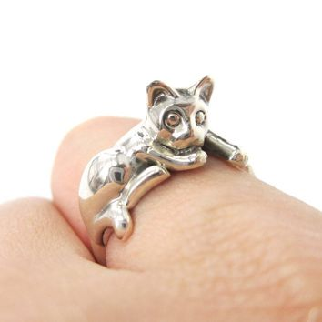 Relaxing Kitty Cat Shaped Animal Wrap Around Ring in 925 Sterling Silver | US Sizes 5 to 8.5