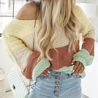 Explosion ladies loose striped sweater sweater