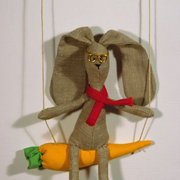 Natural Linen Bunny on carrot swing Baby Crib Mobile for nursery decor READY to Ship!