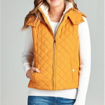 Hooded Quilted Vest - 6 Colors!