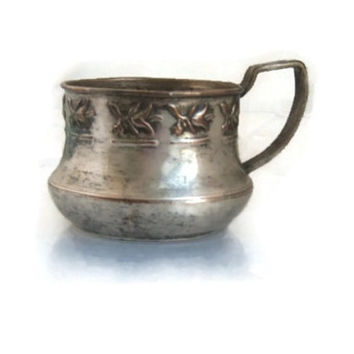 Vintage copper cup ,copper tea glass holder ,silver plated ,home decor ,copper gifts ,copper decor ,embossed copper ,flowers ,floral