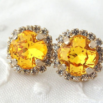 Yellow Swarovski crystal stud earrings, Sunflower yellow Rhinestone stud earrings, Bridal earrings, Bridesmaid earrings, 14k gold plate