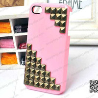 Bling fashion iphone 4 case Pink case iphone case   unique iphone 4 case,studded iphone 4s case, iphone 5 covers case