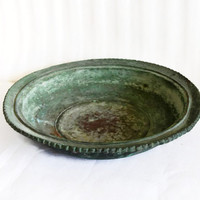 Weathered vintage copper plate, verdigris patina, scalloped hand wrought, tarnish oxidization, trinket tray, rustic home decor, planter base