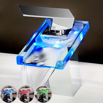 Free Shipping LED Light Waterfall Spout Bathroom Basin Faucet Deck Mount Square Vanity Sink Mixer Tap