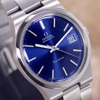 VINTAGE MEN'S OMEGA Geneve AUTOMATIC 23 JEWELS CAL.1012 DATE ANALOG DRESS WATCH