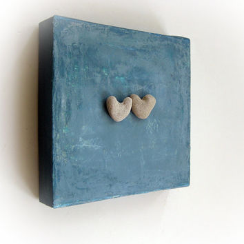 Unique Personalized Gift - genuine Heart shaped Beach stones rocks
