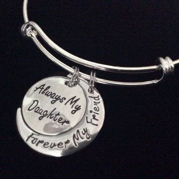 Always My Daughter Forever My Friend Expandable Charm Bracelet Silver Adjustable Bangle Trendy Gift