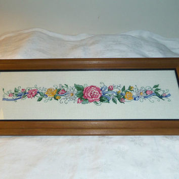 Flowers Roses Completed Cross Stitch on 18 Count Aida Wood Frame 20.25 x 7.75""