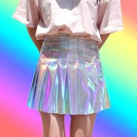 Holographic Pleated Skirt from ☯ harajuku alien ☯