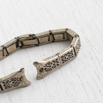 Antique White Gold Filled Art Deco Watchband-Vintage Flower Filigree Design Watch Band Jewelry Signed Anne Louise / Panel Stretch Bracelet